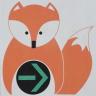 Wegezeichen oranger Fuchs