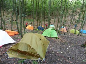 Nur ausnahmsweise mehr als sechs Zelte beim Bloggerwandern